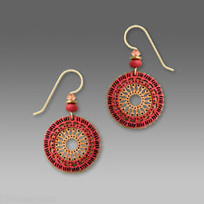 Adajio Light Orange Filigree Circle EARRINGS w Coral Overlay Gold Filled Earwire