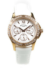 Rotary Watch Ladies White Chronograph Crystal Set LS60162/02