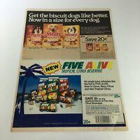 VTG Retro 1986 Meaty Bone Dog Biscuits & Five Alive Beverage Print Ad Coupon