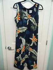 HAWAIIAN ALOHA DRESS - PLUMERIA FLOWER & PALM TREES PRINT - WOMEN'S SIZE M