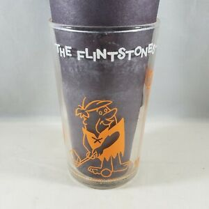 Welch's Jelly Drinking Glass The Flintstones Fred & Barney Play Golf Wilma Stamp