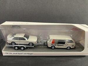 Schuco Volkswagen T3B and Audi Sport with Trailer 1/87