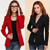 Women Ladies Fashion Solid Slim Long Zipper Suit Coat Jacket Blazer Tops Office