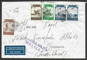 Spanish Morocco covers 1937 Civil War Airmailcover censored MELILLA to Lübeck