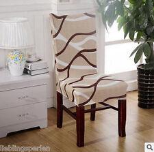 Stuhlhusse Stuhlüberzug Stuhlbezug Stuhl Hussen Bezug Stretch Creme Streifen FL