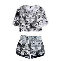 Ahegao Women Girls T Shirt Shorts 3D Printed Costumes Anime Face Hentai Manga