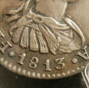 Mexico 1813/2 JJ Overdate 1/2 Half Real PCGS AU 55 Only 1 Silver Colonial Milled