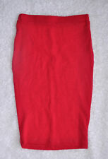 Lush Pencil Skirt Sz XS Red Barberry Soft Stretch Right Below Knee Length