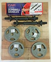 "CAP 20LB total 5LB Weight Plates Lot 1"" Set of 4 WITH NEW CAP Dumbbell Handles"