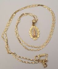 Real 14K Yellow White Gold Rose Virgin Mary Pendant Charm Valentino Chain