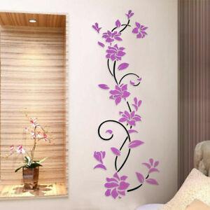 3D Flower Decal Vinyl Decor Art Home Room Wall Sticker Removable Mural Decor
