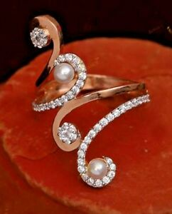 1.21ct NATURAL ROUND DIAMOND 14K SOLID ROSE GOLD PEARL WEDDING CLUSTER RING