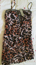 Ladies Animal Print Rouched Bodycon Dress  Size Small   BNWT