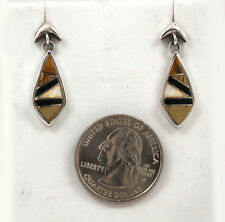 Zuni Indian Inlay Brown Amber, Jet, Opal, & Sterling Silver Post Earrings