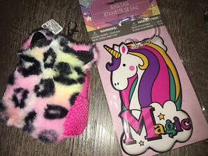 Claire's Rainbow Leopard Plush Mini Backpack Purse Keychain Unicorn Bag Clip