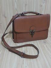 SALISBURY Brown Leather Vintage 70s Messenger Cross Body Bag Hand Bag Hook Clasp