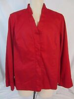 Susan Graver Red Snap Front Long Sleeve Lined Jacket Blazer - Women's XL - AA165