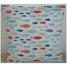 "16"" Fish Cushion Cover Goldfish Blue Aqua Duck Egg Orange Nautical Maritime Sea"