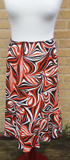 Women's Hobbs Linen Skirt Size 10/12 Fishtail Orange Geometric Elasticated Waist