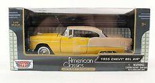 Motor Max American Classics NEW Yellow Tan 1:24 1955 Chevy Bel Air in Box M856