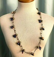 """New ListingVintage Mexico Long Silver Ball & Chain link Necklace hand painted clay Fish 31"""""""