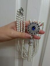 Pearl Necklace Silver Necklace Faux Sapphire Necklace cubic zirconia necklace