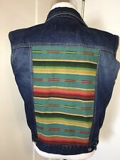 Gull + Marie Denim Jacket Vest Taos Stripe Vintage Jean Vest Jacket Coat