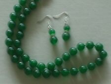 "10MM Green Emerald Necklace 18"" & Earrings NEW (with gift bag)"