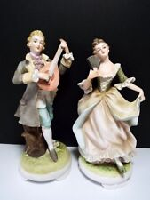 "Lefton Pair 8"" Colonial Man & Woman Hand Painted Porcelain KW3048 A&B Japan"