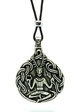 Cernunnos Pan Herne The Hunter Pendant Pewter & Beaded Cord Necklace Pagan God
