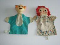 Vintage Bozo the Clown Raggedy Ann hand puppets 1952 Knickerbocker 9 in.