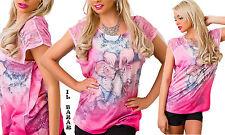 t-shirt maglia maglietta floreale donna rosa stampata pizzo manica corta nuova #