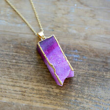 Square Column Pink Druzy Necklace Agate Pendant w/ 24K Gold Edge Plating Chain