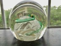 Antique Baccarat Glass Paperweight Green Coiled Snake on Upset Muslin Ground