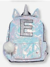 Justice Shimmer UNICORN E Initial Letter Backpack Sequin  Hologram NWT NEW HOLO