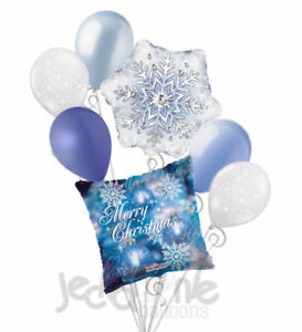 7 pc Snow Flakes & Ornaments Merry Christmas Balloon Bouquet Party Decoration
