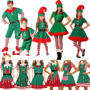 Kids Adult Christmas Elf Fancy Dress Xmas Party Santa Hat Outfit Cosplay Costume