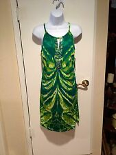 INC Green Ombre Tiger Eye Tribal Embellished Dress Size Small S NWT $89