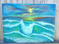 Original Acrylic Painting 9 x 12 Canvas Panel, Beach Sunset Nautical,Coastal Art