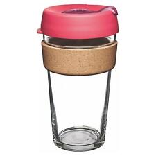 KeepCup Brew Reusuable Glass Coffee Cup Mug with Cork Ribbon 454ml 16oz,Flutter