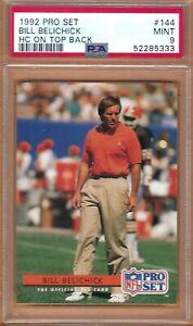 1992 Pro Set Bill Belichick HC On Top Back # 144 PSA 9 MINT