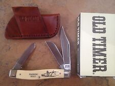 SCHRADE USA SCRIMSHAW PANNING GOLD SENIOR STOCKMAN KNIFE SC505 LEATHER SHEATH