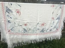 Antique Vintage 1930s Piano Shawl SILK Embroidered SWANS & BUTTERFLIES Large