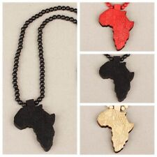 Unisex Good Wood Africa Map Piece Rosary Bead Necklace Chain PendantSweater