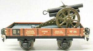 VINTAGE PRE-WAR MARKLIN 0-GAUGE FLAT CAR W/ MARKLIN SPRING LOADED CANNON