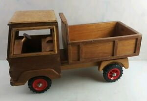 VINTAGE WOODEN HANDMADE TIPPER TRUCK RARE ONE OF KIND ANTIQUE