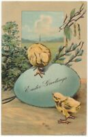 EASTER - Two Chicks and Egg Glitter Covered PFB Postcard