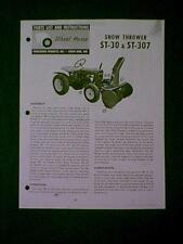 WHEEL HORSE TRACTOR SNOW THROWER ST 30 & ST 307 MANUAL
