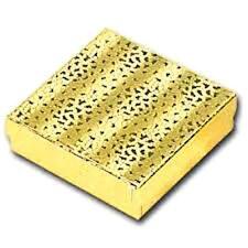 """Wholesale 25Pcs Gold Cotton Filled Jewelry Gift Boxes 3 1/2"""" x 3 1/2"""""""