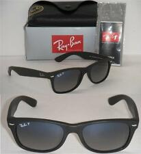 RAY BAN NEW WAYFARER RB 2132 601S/78 52MM MATTE BLACK/ BLUE GREY FADED POLARIZED